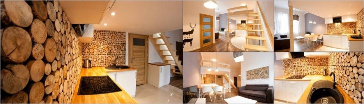 Appartement décoré de bois à Cracovie