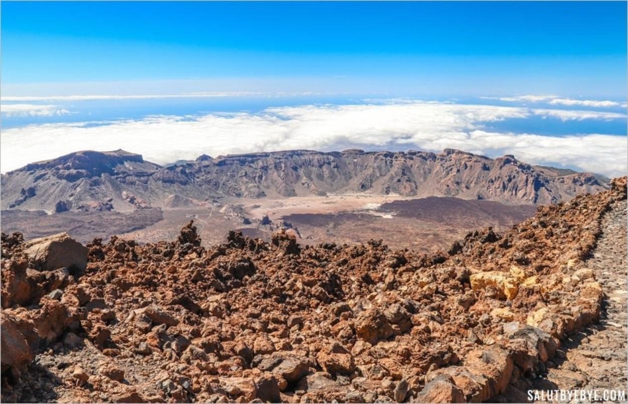 Vue depuis le volcan Teide à Tenerife