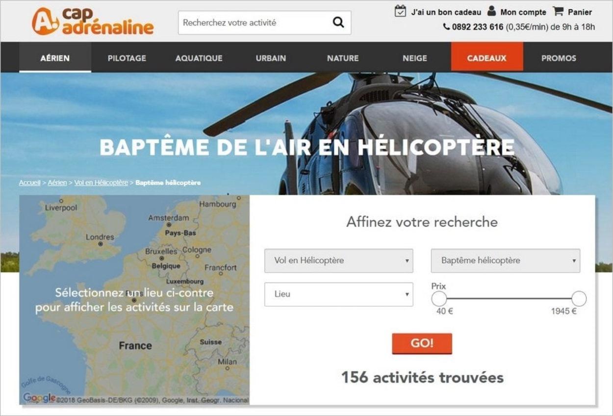 Le baptême de l'air en hélicoptère proposé par Cap Adrénaline