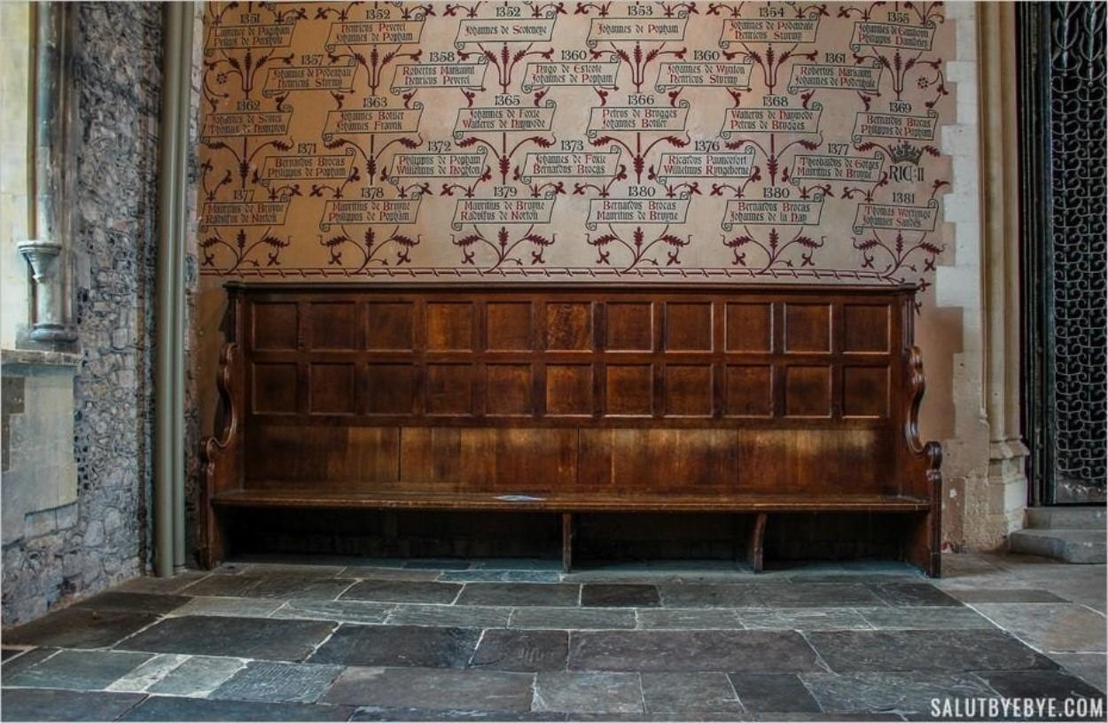 Le mur des noms dans le Great Hall de Winchester