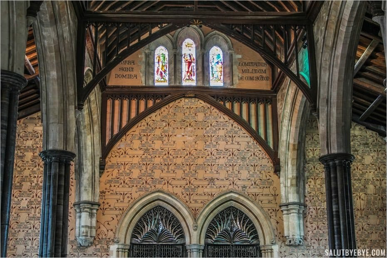 Partie haute du mur des noms dans le Great Hall de Winchester