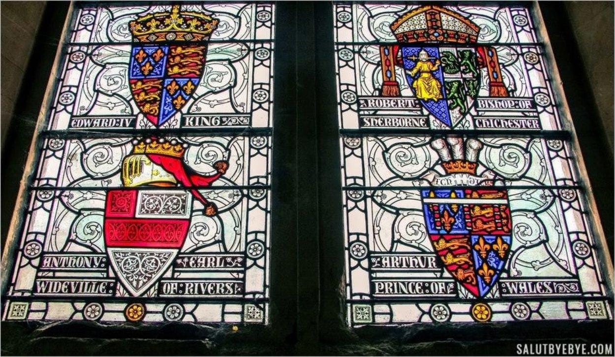 Vitraux dans le Great Hall de Winchester