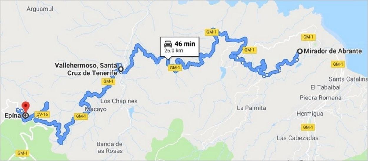 Route du Mirador de Abrante à Epina