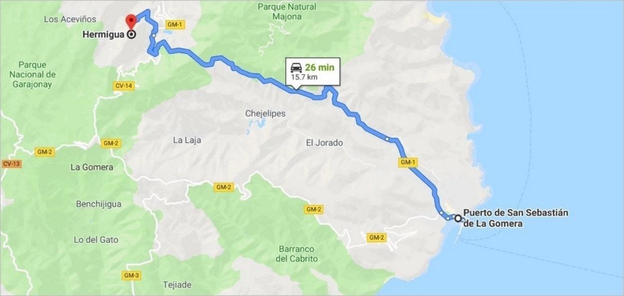 Route de San Sebastian de La Gomera à Hermigua