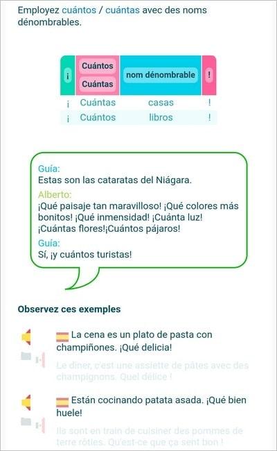 Cours d'espagnol dans l'application