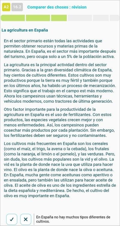 Exercice de compréhension en espagnol