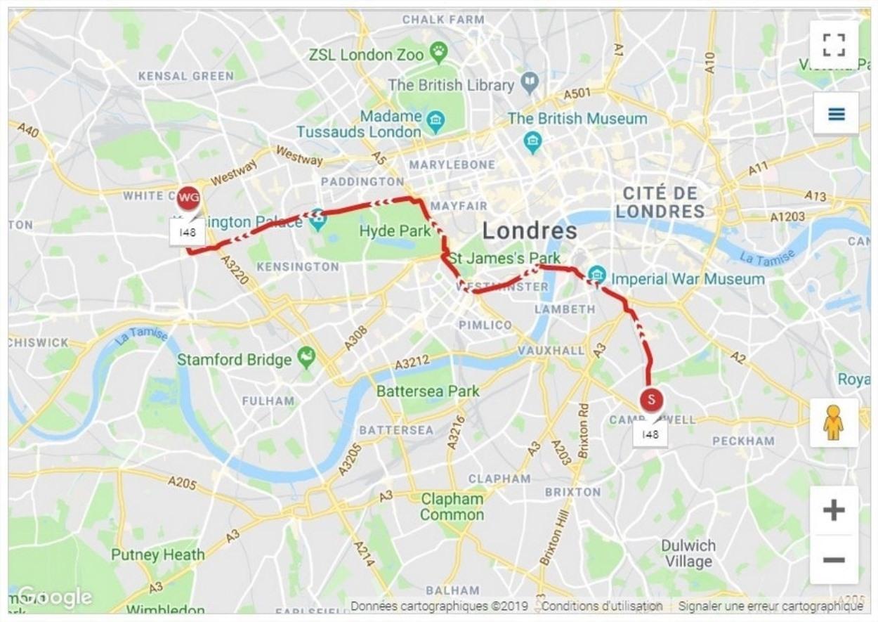 Visiter Londres avec le bus 148