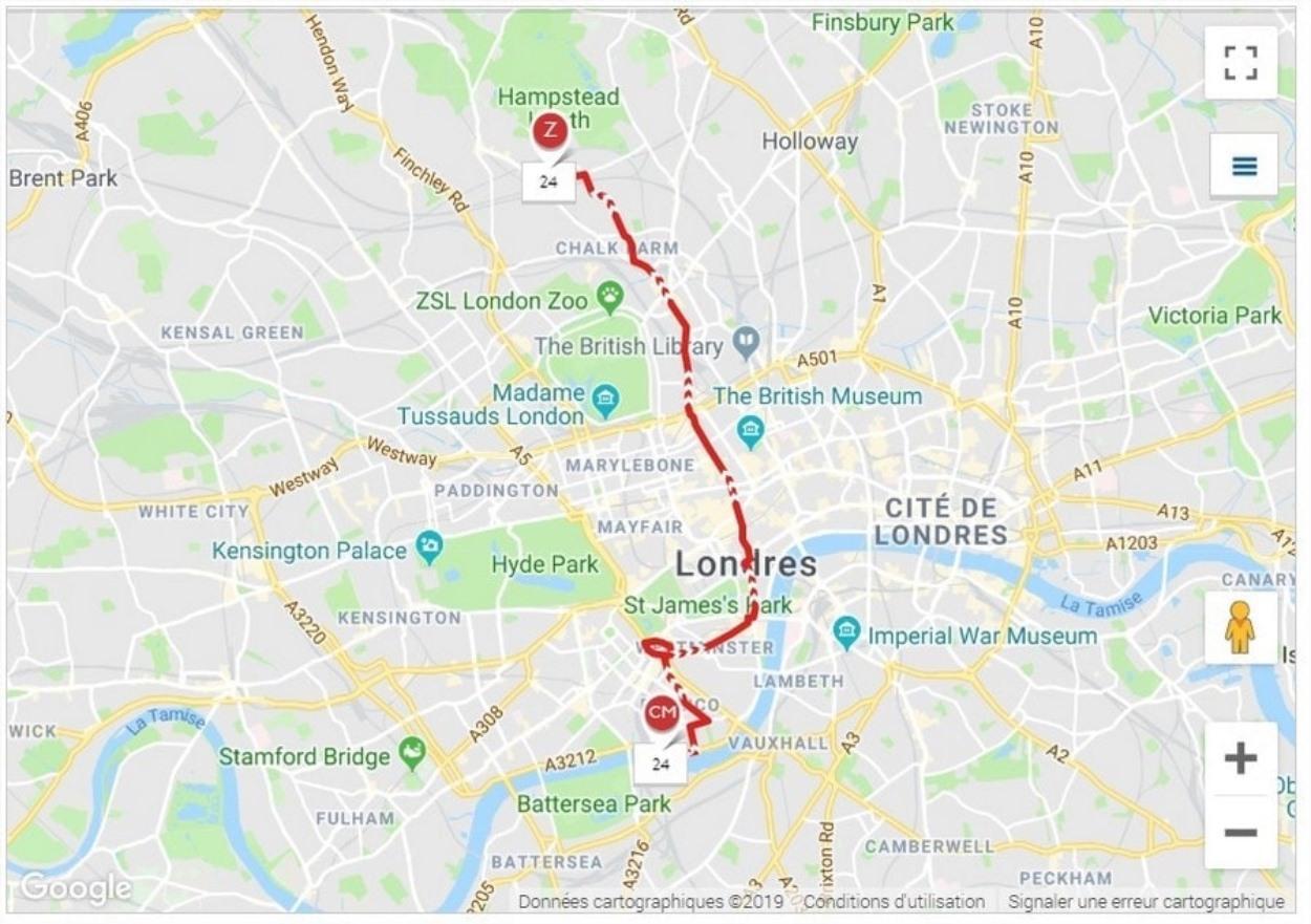 Ligne 24 du bus à Londres