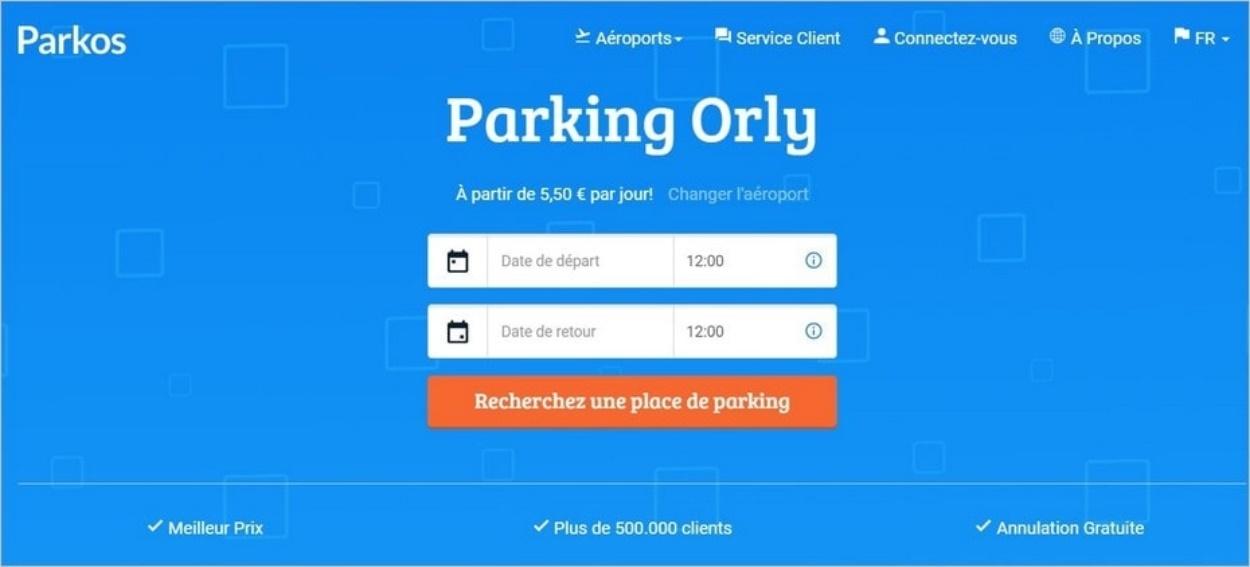 Parkos, comparateur de parkings à Orly