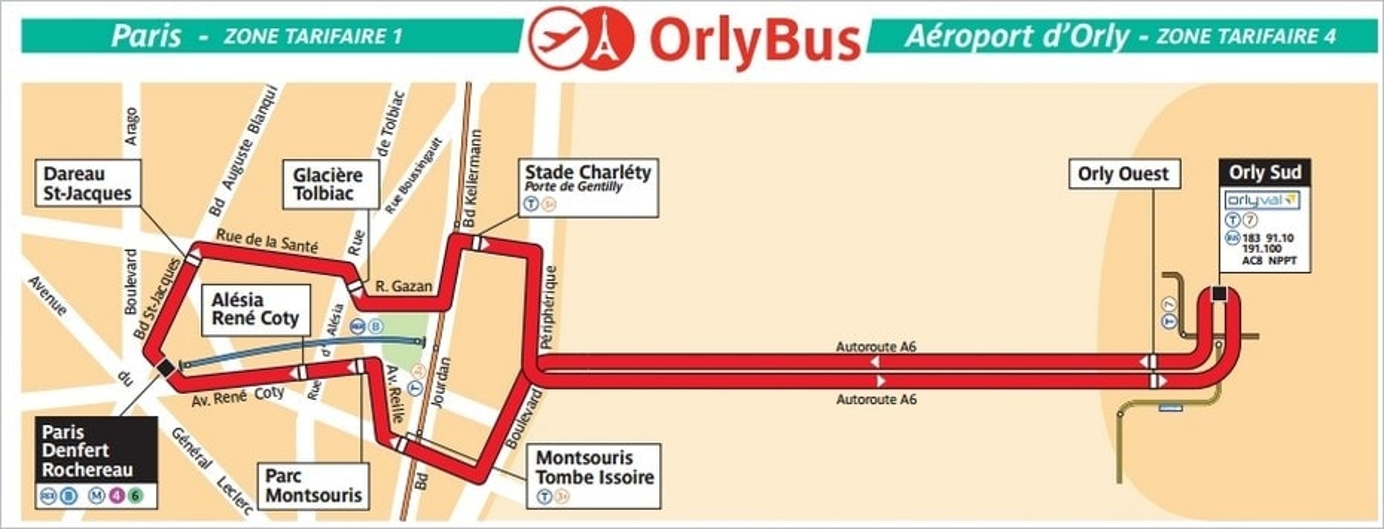 Le plan d'Orlybus