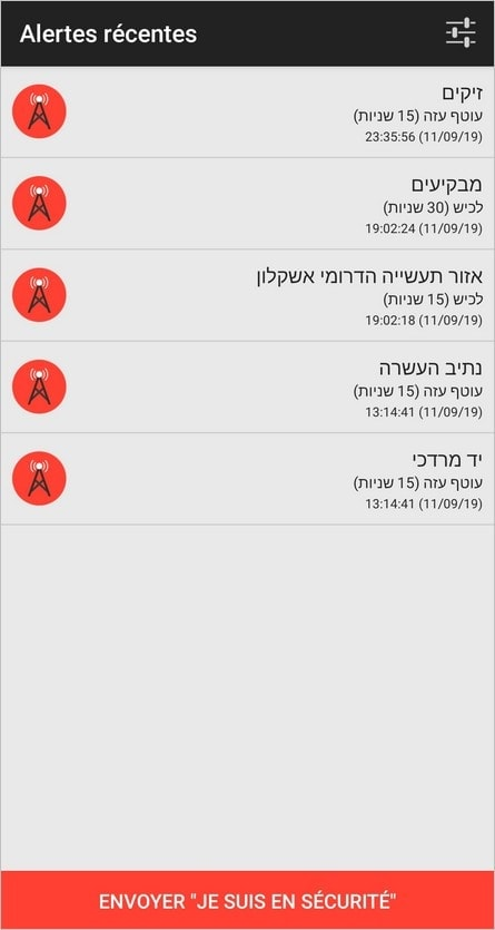 Alerte tirs de roquettes en Israël