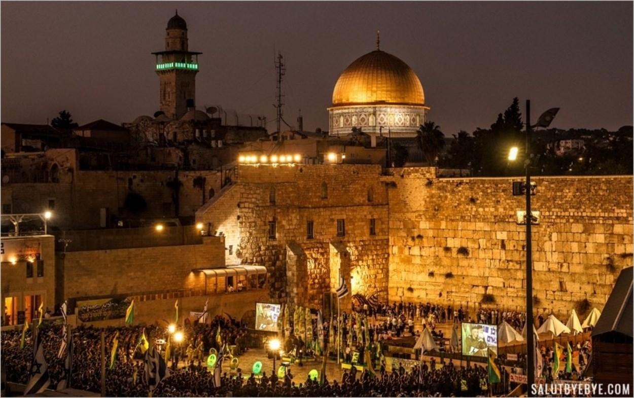 Le Dôme du Rocher et le Mur des Lamentations