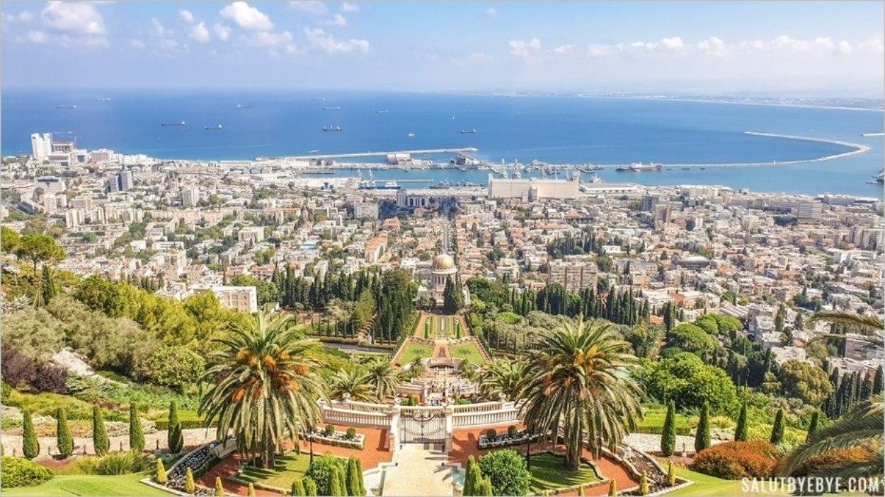 La vue sur Haïfa depuis les Terrasses ba'haies