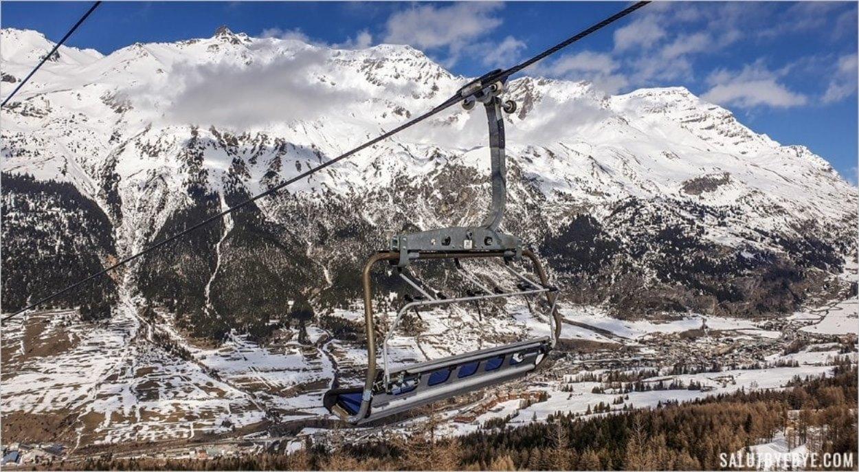 Le paysage vu du télésiège à Val Cenis
