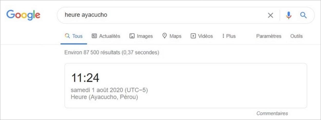 Connaître l'heure locale avec Google