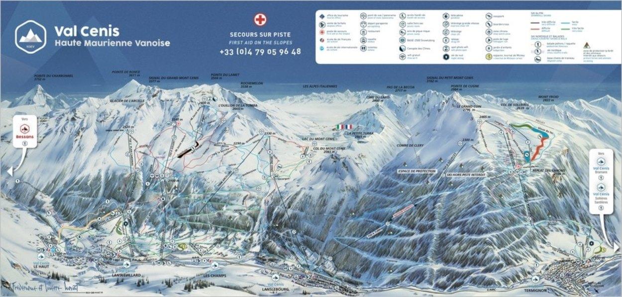 Plan des pistes de Val Cenis