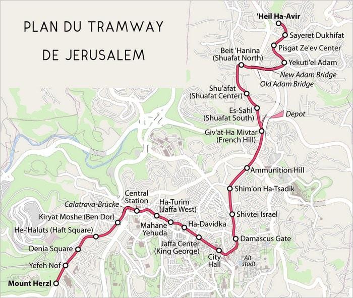 Plan du tramway de Jérusalem
