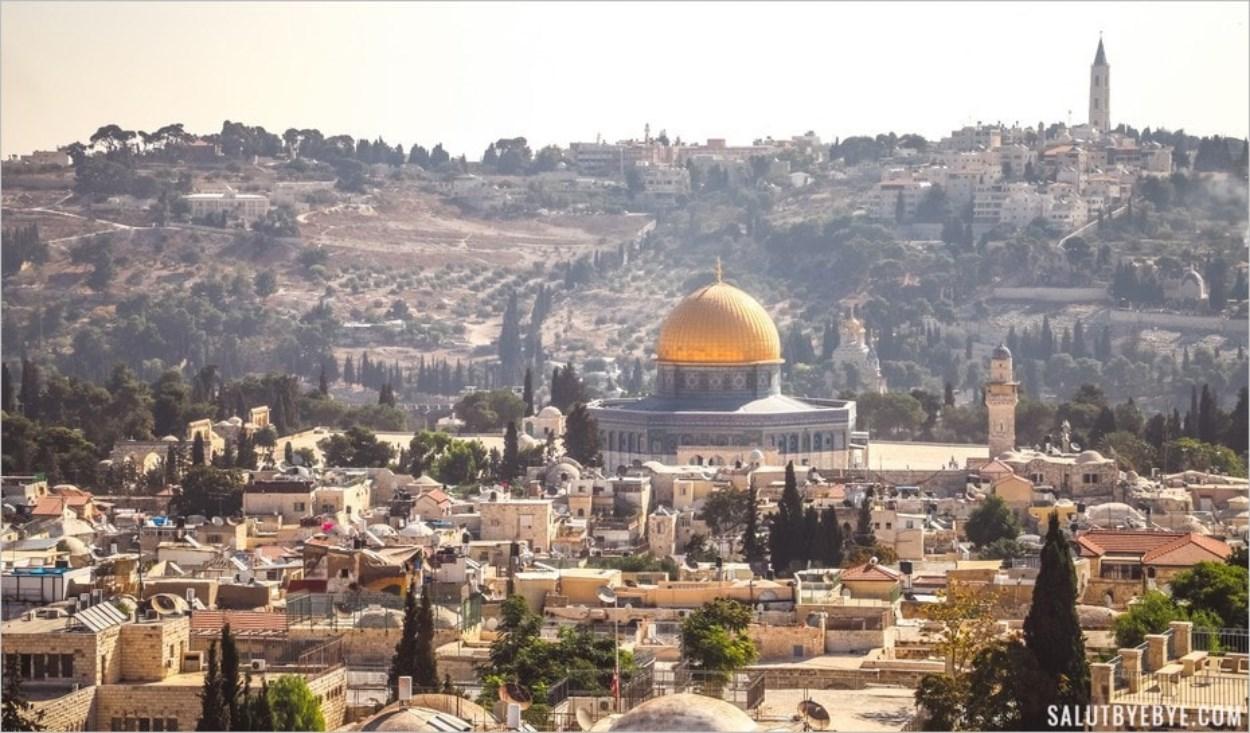 Vue sur le mont des Oliviers depuis les remparts de Jérusalem