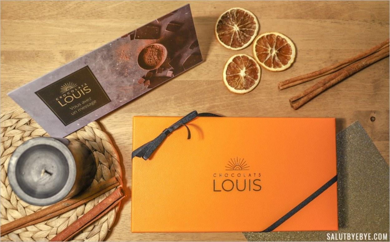 Coffret de chocolats et message personnalisé
