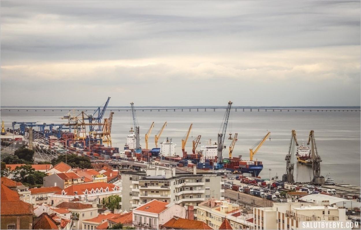 Le port de Lisbonne vu depuis le Panthéon national