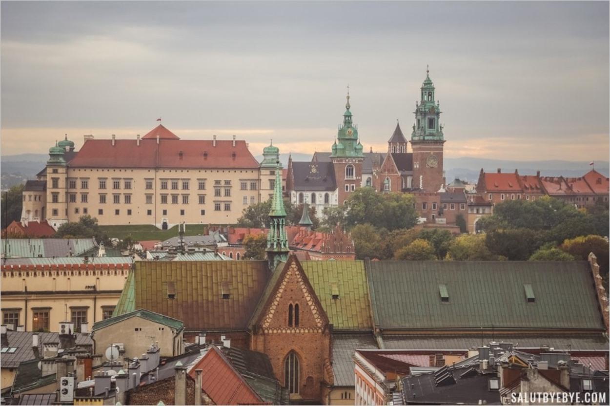 Vue sur le château du Wawel depuis la tour de l'hôtel de ville de Cracovie