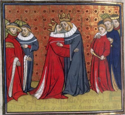 Un baiser entre le Roi de France et le Roi d'Angleterre
