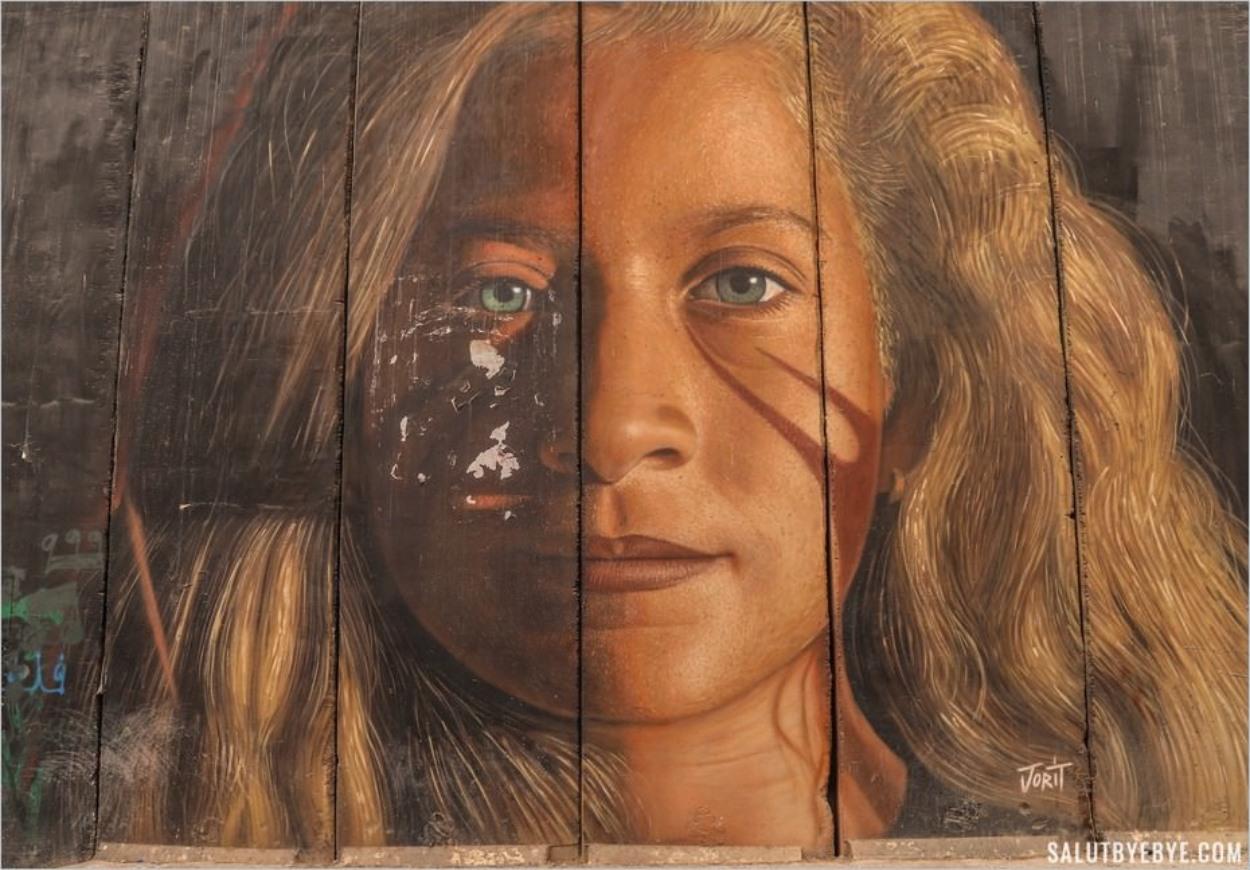Portrait d'Ahed Tamimi par Jorit Agoch à Bethléem, Cisjordanie