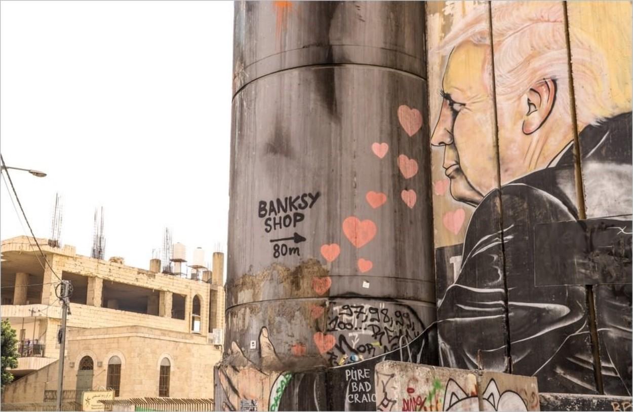 Donald Trump embrassant le mur Israël-Palestine, Bethléem, Cisjordanie