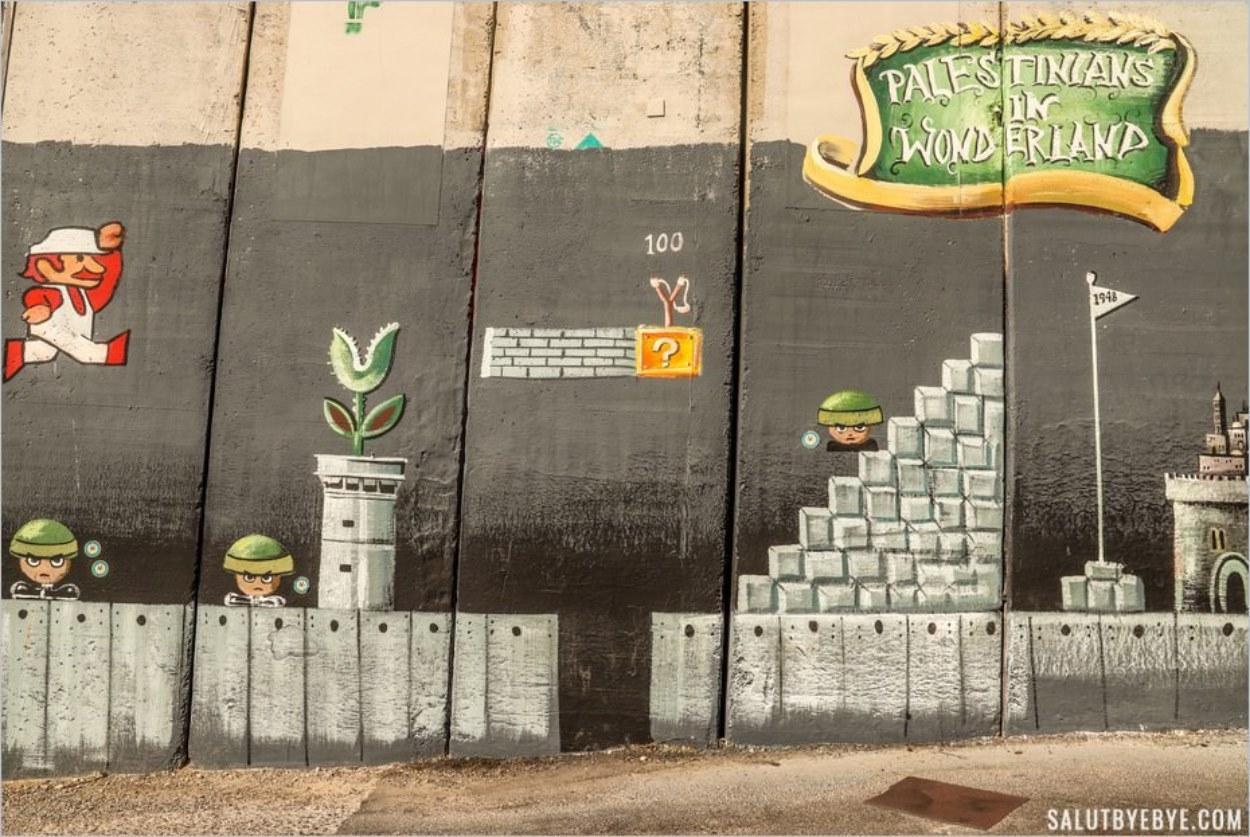 Super Mario - Street art sur le mur entre Israël et Palestine, Bethléem, Cisjordanie