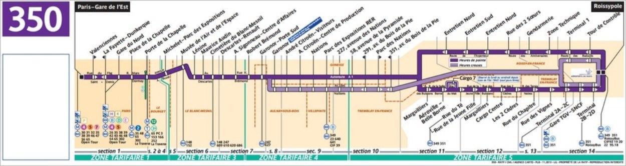 Plan du bus 350 vers l'aéroport CDG