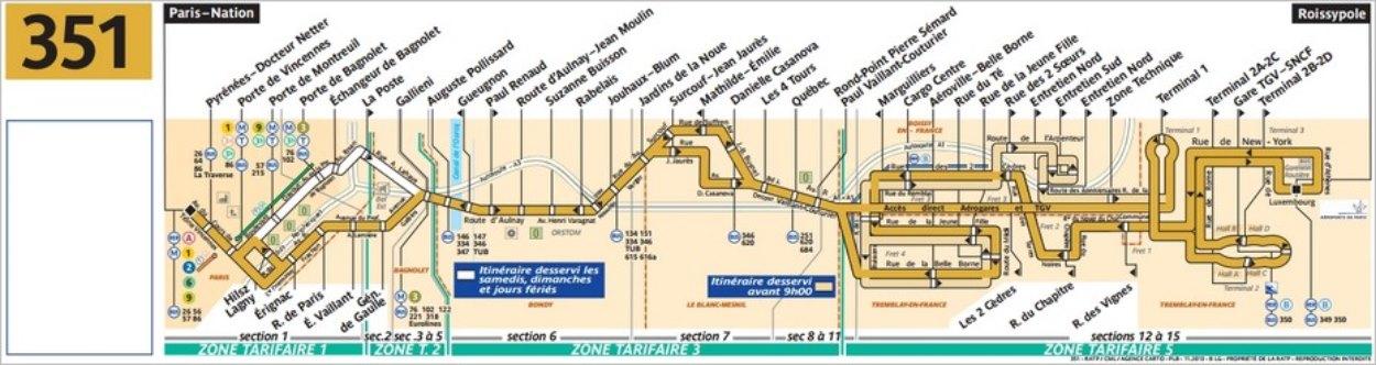 Plan du bus 351 vers l'aéroport CDG