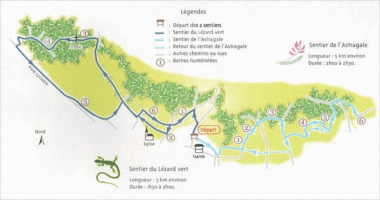 Plan des sentiers de randonnée de Giverny